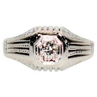 Treasured GIA Certified .23ct Diamond 18kt White Gold Ring