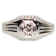 Treasured GIA Certified .23ct Diamond 18kt White Gold Ring