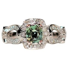 Color Changing Stunner 1.90tcw Alexandrite & Diamond 14kt White Gold Ring