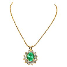 Stunning 2tcw Colombian Emerald & White Sapphire 10kt White Gold Pendant 14kt Necklace