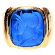 Intaglio Cameo Roman Soldier 6ct Blue Chalcedony 10kt Yellow Gold Ring