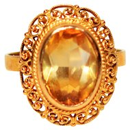 Honey 4.60ct Citrine 18kt Yellow Gold Ring