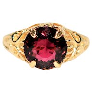 Intricate Detailed 3.84ct Untreated Rubellite Tourmaline 10kt Yellow Gold Ring