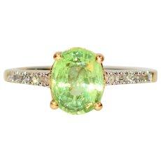 Vivid Sparkle 1.96tcw Untreated Demantoid Garnet & Diamond 14kt Yellow Gold Ring