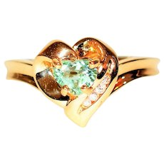 Investment Grade .50tcw Untreated Paraiba Tourmaline & Diamond 10kt Yellow Gold Ring