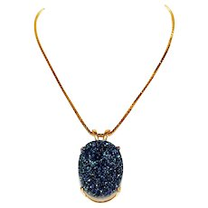 Glittering Beauty 12ct Blue Druzy 14k Yellow Gold Pendant Necklace