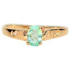 Intricate Detailed .50ct Untreated Paraiba Tourmaline 14kt Yellow Gold Ring
