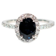 Royalty GIA Certified 2.07tcw Blue Sapphire & Diamond 14kt White Gold Ring