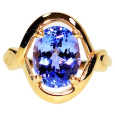 Otherworldly 2.54ct D'Block Tanzanite 10kt Yellow Gold Solitaire Ring
