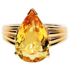Sunshine Beauty 4.31ct Untreated Golden Beryl 14kt Yellow Gold Solitaire Ring