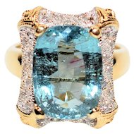 Superstar 9.12tcw GIA Certified Untreated Paraiba Tourmaline & Diamond 14kt Yellow Gold Ring