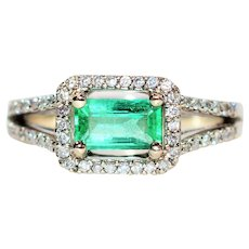 Glowing Neon 1.59tcw Untreated Colombian Emerald & Diamond 14kt White Gold Ring