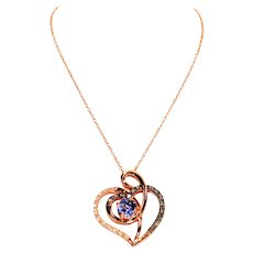 Limited Edition LeVian 1tcw Tanzanite & Diamond 14kt Rose Gold Pendant Necklace