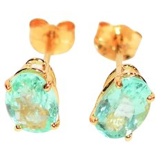 Sizzling 1.50tcw Untreated Paraiba Tourmaline 14kt Yellow Gold Stud Earrings
