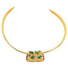 Unbelievable 2.06tcw Colombian Emerald & Diamond 14kt Yellow Gold Omega Necklace