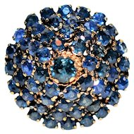 Pristine 3tcw Blue Sapphire Prince Harem 14kt Yellow Gold Ring