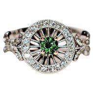 Astonishing .62tcw Untreated Tsavorite Garnet & Diamond 14kt White Gold Ring