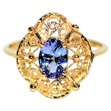 Dynamite Detailed .72ct D'Block Tanzanite 14kt Yellow Gold Solitaire Ring