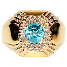 Exceptional Color .161tcw Blue Zircon & Diamond 10kt Yellow Gold Mens Ring