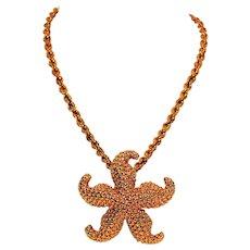 Large Statement Nautical Beach Starfish 14kt Yellow Gold Pendant Necklace