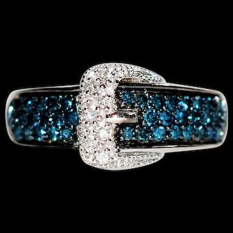 Belt Buckle .45tcw Fancy Blue & White Diamond 10kt White Gold Statement Ring