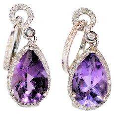 Dangle Drop 6.96tcw Siberian Amethyst & Diamond 14kt White Gold Statement Rings