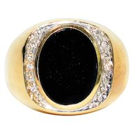 Exquisite Dark Natural Onyx & .06tcw Diamond 10kt Yellow Gold Ring