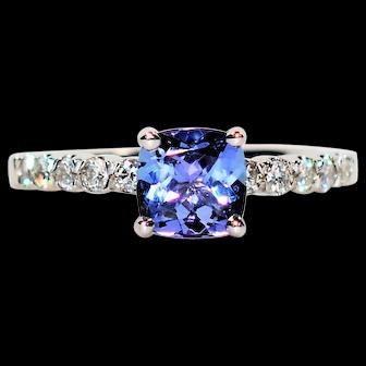 Exquisite Statement 1.88tcw Tanzanite & Diamond Platinum Ring