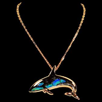 Killer Whale Orca 2tcw Lightening Ridge Opal 14kt Yellow Gold Pendant Necklace