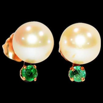 WOW 7mm Akoya Pearl & .14tcw Colombian Emerald 14kt Yellow Gold Stud Earrings