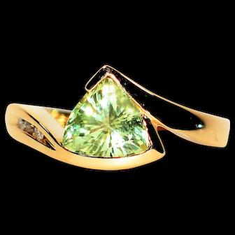 Sparkling 1.69tcw Demantoid Garnet & Diamond 14kt Yellow Gold Ring