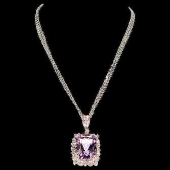 Exquisite Multi-Strand 6.35tcw Amethyst & Diamond 14kt White Gold Pendant Necklace
