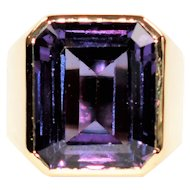 Magical Color Changing 25ct Alexandrite 14kt Yellow Gold Ring