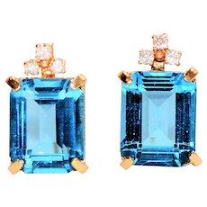 Sky Blue Statement 10.13tcw Blue Topaz & Diamond 10kt Yellow Gold Earrings