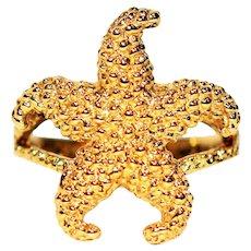 Stunning Starfish 14kt Yellow Gold Nautical Beach Statement Ring
