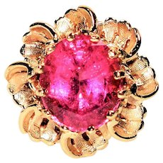 Bold GIA Certified Beauty 5.94ct Untreated Pink Tourmaline 14kt Yellow Gold Ring