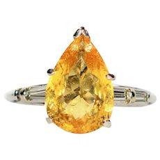 Exquisite Saturation 4.94tcw Untreated Golden Beryl & Diamond Platinum Ring