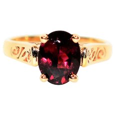 Intricate 1.30ct Untreated Rubellite Tourmaline 14kt Yellow Gold Ring