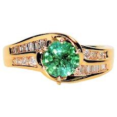 Sparkling 1.40tcw Untreated Paraiba Tourmaline & Diamond 14kt Yellow Gold Ring