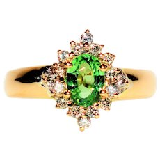 Glittering 1.32tcw Untreated Tsavorite Garnet & Diamond 14kt Yellow Gold Ring