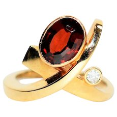 BOLD Design 1.86tcw Untreated Red Spinel & Diamond 14kt Yellow Gold Ring