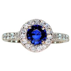 Exceptional Saturation 1.57tcw Ceylon Sapphire & Diamond 14kt White Gold Ring