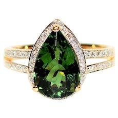 Green Goddess 3.57tcw Certified Untreated Paraiba Tourmaline & Diamond 14kt Yellow Gold Ring