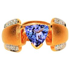 Trillion Masterpiece 1.41tcw D'Block Tanzanite & Diamond 18kt Yellow Gold Ring