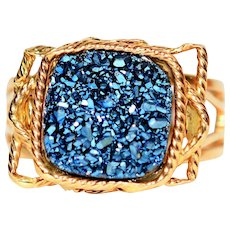 Celebrity Style Milor Italy Royal Blue Druzy 14kt Yellow Gold Ring