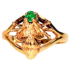 Queen Bee Designer .15ct Colombian Emerald 14kt Yellow Gold Ring