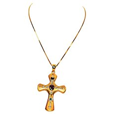 Gemstone Cross .72tcw Ruby, Colombian Emerald, Diamond, Sapphire 14kt Yellow Gold Pendant Necklace