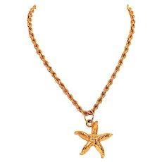 Stellar Starfish 14kt Yellow Gold Pendant Necklace
