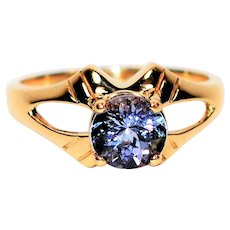Captivating Color Change 1.14ct Tanzanite 10kt Yellow Gold Solitaire Ring