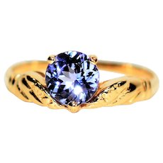 Lovely Lilac 1.09ct Tanzanite 14kt Yellow Gold Ring